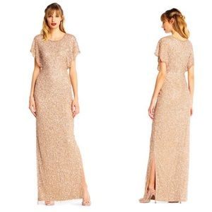 Adrianna Papell Pearl Beaded Sequin Gown